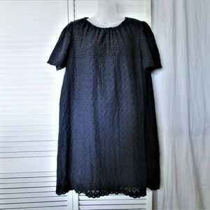 GAP navy cotton eyelet elastic neck dress XL
